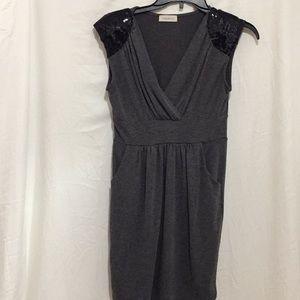 Solemio Grey Medium Dress midi w/ pockets sequins